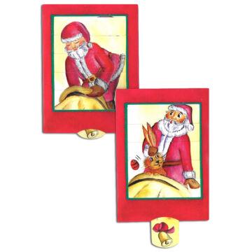 Santa juggles - conjures Rabbit - changing card
