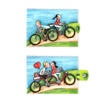 Bicyclists changing card