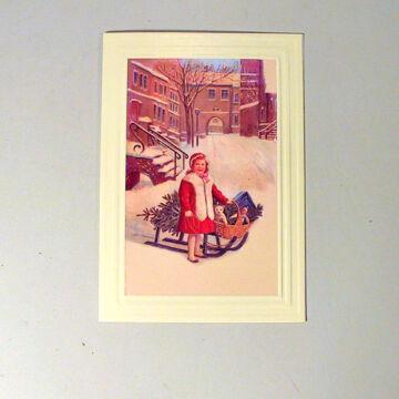 Életkép - kislány szánkóval - képeslap borítékkal