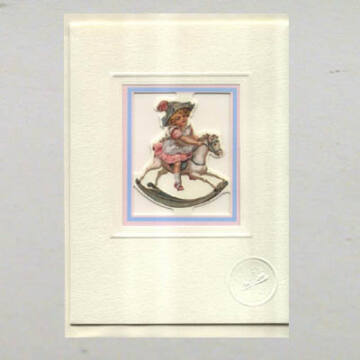 Girl on rocking horse card with envelope