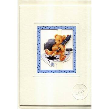 Bear with an old pen card with envelope