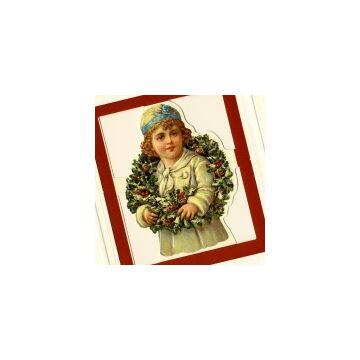 Lányka Karácsonyi koszorúval  üdvözlőlap