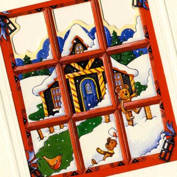 Karácsonyi táj az ablakból  képeslap borítékkal