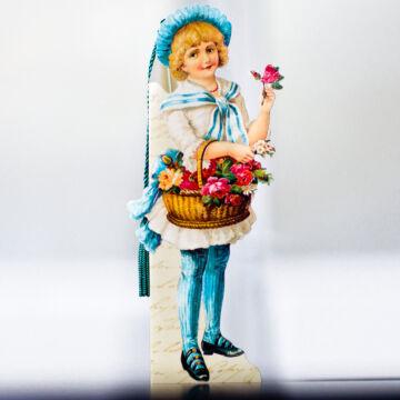 Virágárus lány matróz csíkos ruhában   könyvjelző