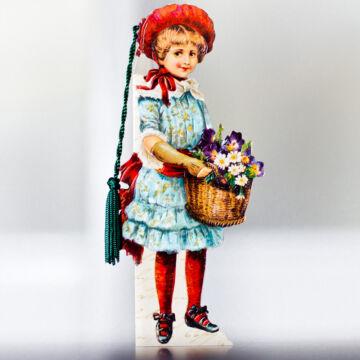 Virágárus lány kék ruhában virágokkal  könyvjelző