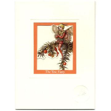 Tiszafa ága terméssel és tündével Üdvözlőlap  borítékkal