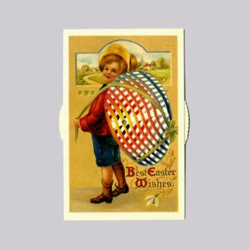 Fiú tojáshátizsákkal  változó Húsvéti képeslap