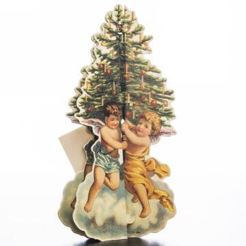 Papír karácsonyfa angyalos nosztalgia grafikával