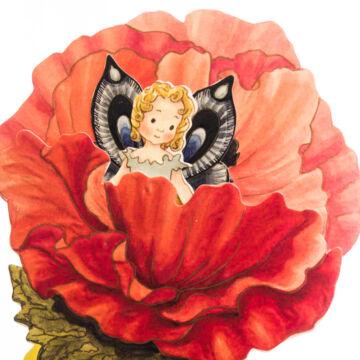 Red Poppy fairy 3D card