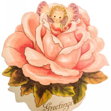 Rózsa tündér   térbeli üdvözlőlap