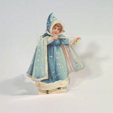 Hópelyhecske, kék angyalka képeslap  borítékkal