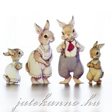 Nyuszicsalád  - öltöztethetö papírfigura szett - 4 figura
