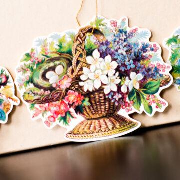 Galambok és virágkosarak  4 féle  ajándékkísérő