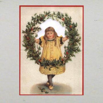 Kislány fagyöngy koszorúval képeslap borítékkal