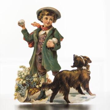 Hógolyózó fiú kutyával  üdvözlőlap