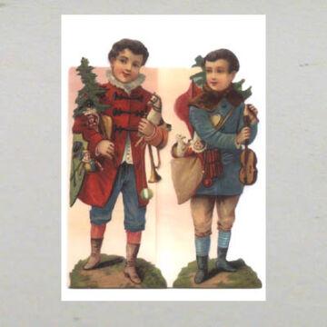 Karácsonyi vándorzenészek üdvözlőlap borítékkal