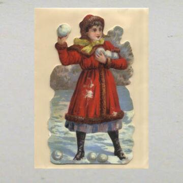 Hógolyózó lány képeslap borítékkal
