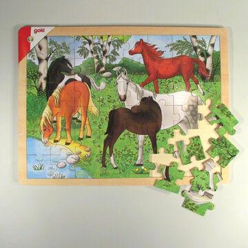Pónifarm  -  puzzle fából lovas képpel 48 elemes