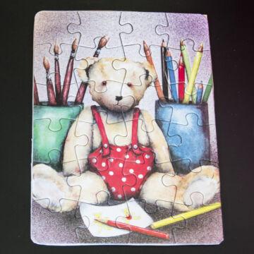 Festő Maci  mini puzzle