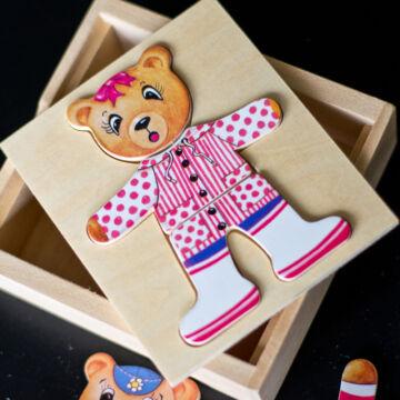 Emma mackó - öltöztető puzzle fából