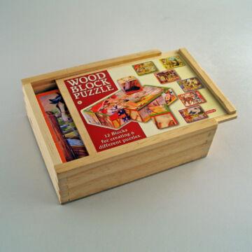 Kocka puzzle - életképek fa dobozban