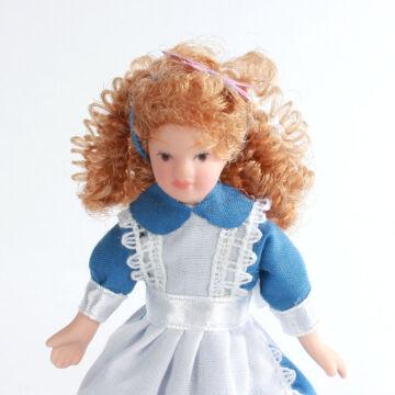 Kék szobalány porcelánbaba babaházba 11cm