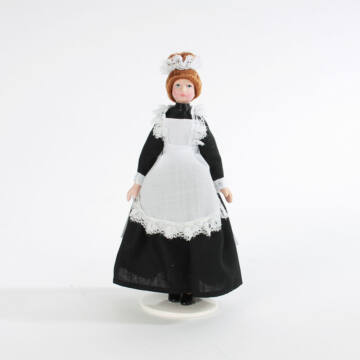 Maid girl small porcelain doll