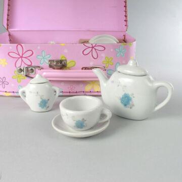 TEÁSKÉSZLET kék virágokkal, rózsaszín bőröndben  most akcióban