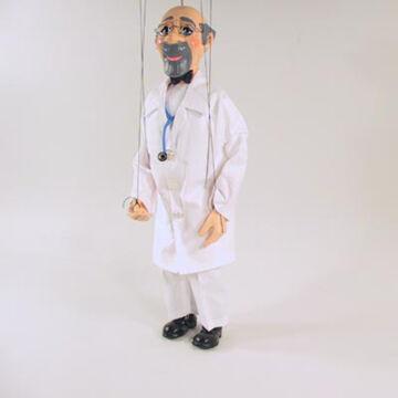 Mosolygós orvos marionett 25 cm