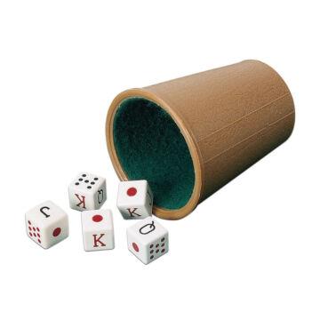 Pókerkocka készlet dobó pohárral