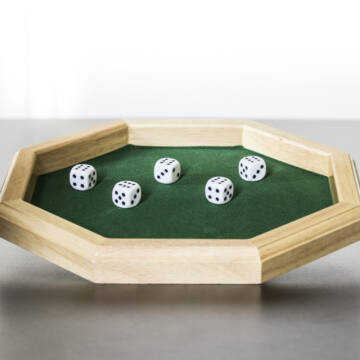 Dice poker set with tray game