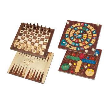 Wooden Board Games Set with 5 different games