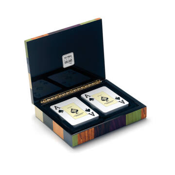 CANASTA DE LUX - card set in varnised inlaid wooden box