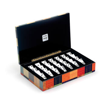 Domino de lux in wooden inlaid box