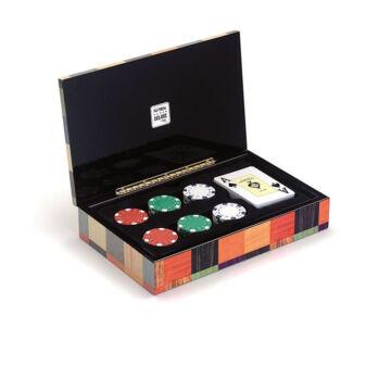 Exkluzív póker kártya és zseton szett színes intarziás fadobozban
