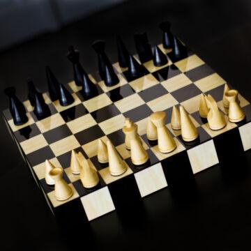 Intarziás Fiókos design sakk készlet de Lux
