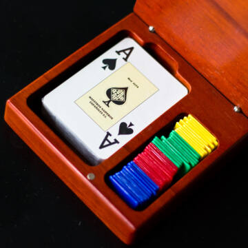 Poker card with token moneys in wooden box