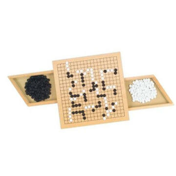 GO wooden game with 2 drawers