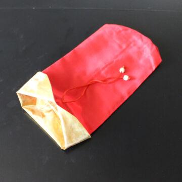 Piros színű selyem zsák - ajándéktasak - dekor csomagoló
