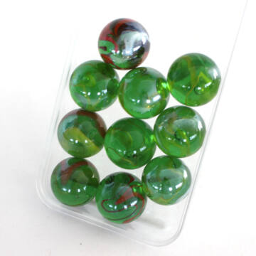 GYONGYHAZ ZOLD 25mm üveggolyó szett 10db
