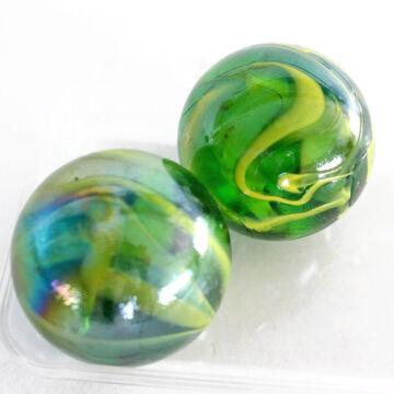 Gyöngyházfényű, zöld/sárga   üveggolyó szett 45mm 2db