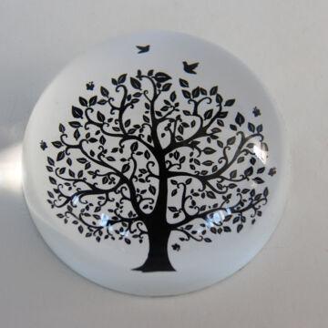 Üveg levélnehezék fa grafikával