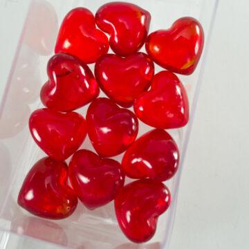 Kristályosan áttetsző piros üvegszív 2,8cm