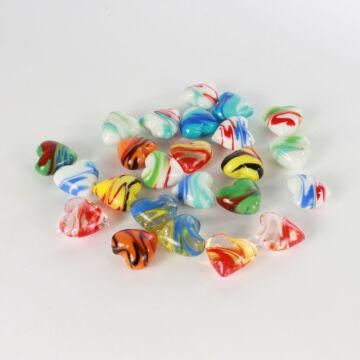 Tarka kis üvegszívek - 24db/szett
