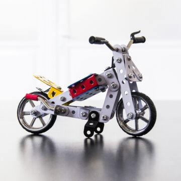 Motorkerékpár fémépítő szett  ezüst