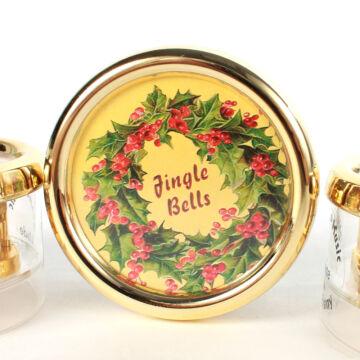 Zenélő köralakú dobozka karácsonyi grafikával