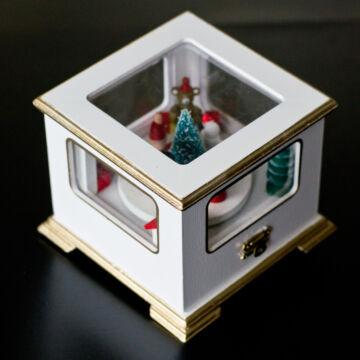 Zenélő karácsonyi doboz mozgó figurákkal  fehér