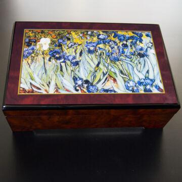 Iriszek (Van Gogh)  lakkozott zenélő ékszerdoboz