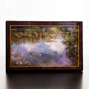 Lakkozott, zenélő ékszerdoboz MONET Tavirózsák festményével díszítve