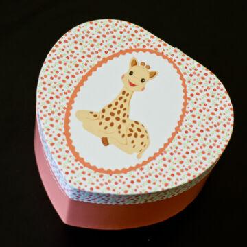 Sophie a zsiráf - szív alakú zenélő ékszerdoboz